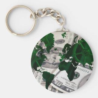 World map cash basic round button keychain