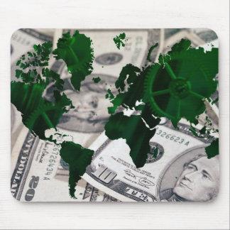 World map cash mouse pad