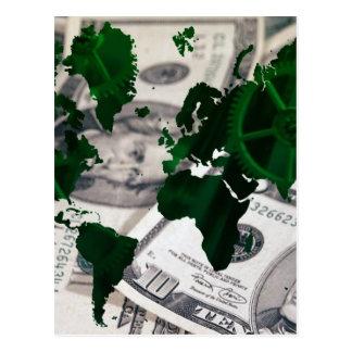 World map cash postcard