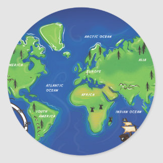 Cartoon World Map Stickers Zazzle - Round world map image