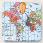 """World Map Coasters<br><div class=""""desc"""">World map coasters,  with a colorful map of the world.  Great gift for travelers!</div>"""