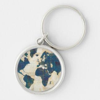 World Map Collage Keychain