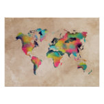 world map color poster