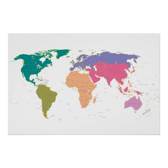 World map colored by continents poster | Zazzle.com