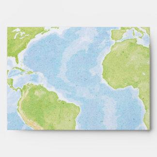 World Map Compass Bar Bat Mitzvah Envelope