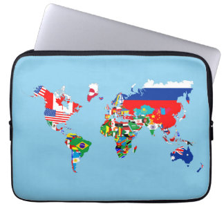 world map country flag symbol silhouette laptop sleeve
