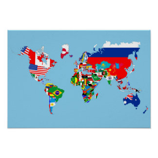 world map country flag symbol silhouette poster