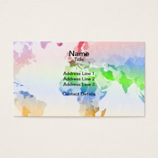 World Map Crumpled Multi-Coloured Business Card