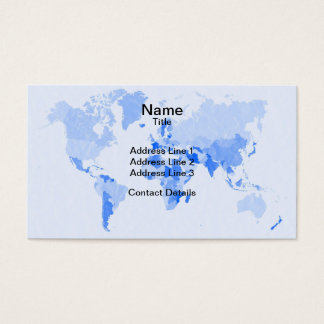 World Map Crumpled Pale Blue Business Card