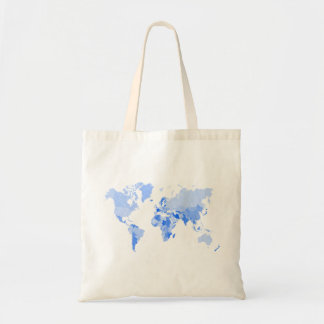 World Map Crumpled Pale Blue Tote Bag