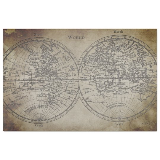 World Map Decoupage Paper
