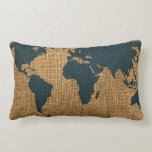 World Map Deep Sea Blue Throw Pillow