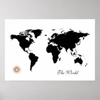 world_map del viaje del black&white póster