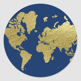 World Map Design | Navy and Gold Classic Round Sticker