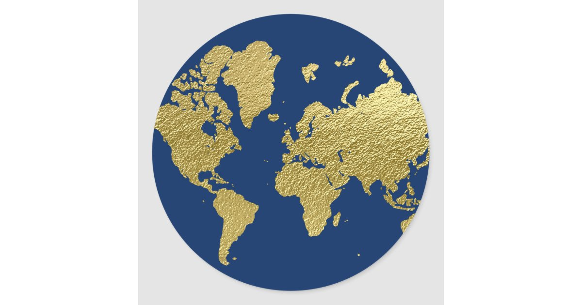 World Map Design Navy And Gold Classic Round Sticker Zazzlecom - Round world map image