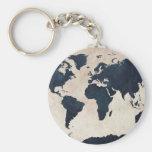 World Map Distressed Navy Basic Round Button Keychain