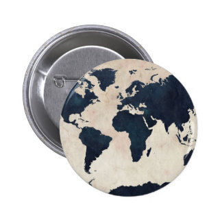 World Map Distressed Navy Button