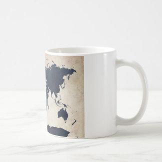 World Map Distressed Navy Coffee Mug