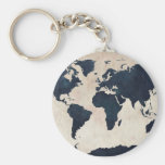 World Map Distressed Navy Keychain
