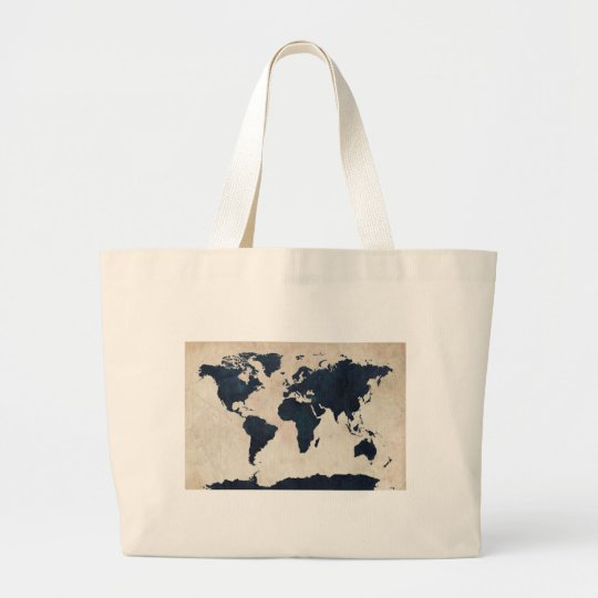 World Map Distressed Navy Large Tote Bag