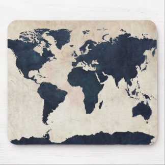 World Map Distressed Navy Mouse Pad