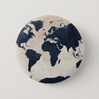 World Map Distressed Navy Pinback Button