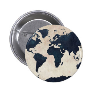 World Map Distressed Navy Pinback Button