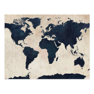 World Map Distressed Navy Postcard