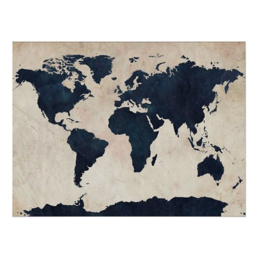 World Map Distressed Navy Print