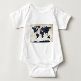 World Map Distressed Navy T-shirt