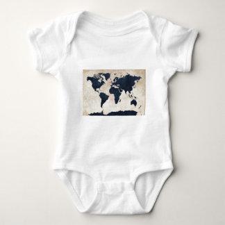 World Map Distressed Navy T-shirt