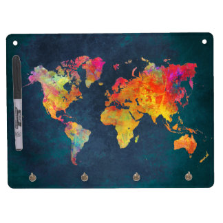 world map dry erase board with keychain holder