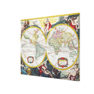 World Map, early 18th century (coloured engraving) Canvas Print