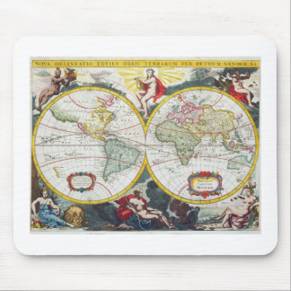World Map, early 18th century (coloured engraving) Mouse Pad