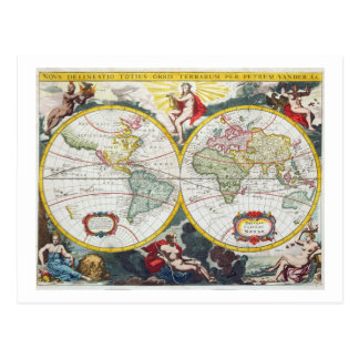 World Map, early 18th century (coloured engraving) Postcard