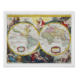 World Map, early 18th century (coloured engraving) Poster