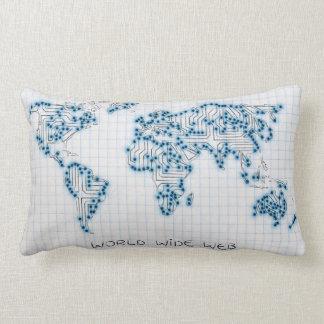 World Map   Electronic Microchip Circuits Lumbar Pillow