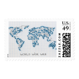 World Map | Electronic Microchip Circuits Postage