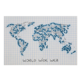 World Map | Electronic Microchip Circuits Poster