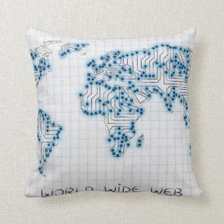 World Map   Electronic Microchip Circuits Throw Pillow