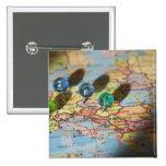 World Map, Europe Pin