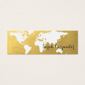 World map | faux gold | elegant mini business card