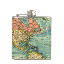 World Map Featuring United States Flask