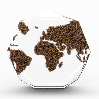 World map filled with coffee beans acrylic award