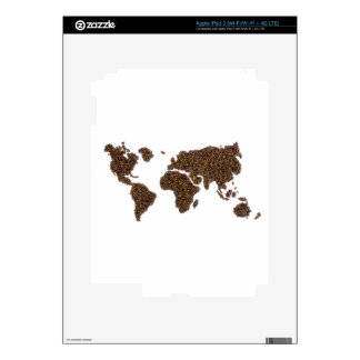 World map filled with coffee beans decal for iPad 3