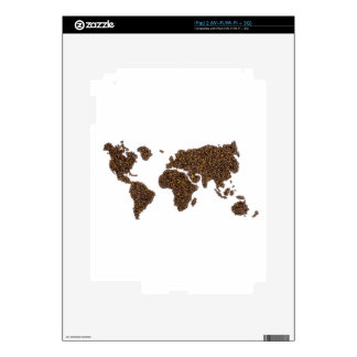 World map filled with coffee beans decal for the iPad 2