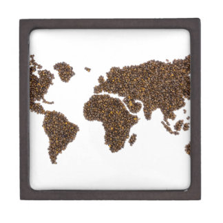 World map filled with coffee beans keepsake box