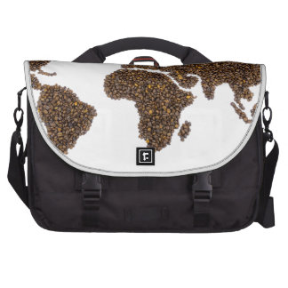 World map filled with coffee beans laptop commuter bag