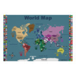 World Map For Kids - Blue with Flags Poster