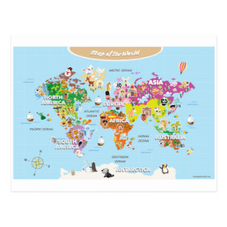 World Map For Kids - Cute and Fun Postcard